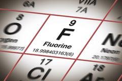 Fokus auf chemischem Element des Fluors - das wichtigste Element gegen Zahnverfall - Konzeptbild mit einem Mendeleev periodisch stockbild