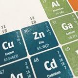 Fokus auf chemischem Element des Zinks stockfotografie