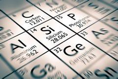 Fokus auf chemischen Elementen des Silikons Lizenzfreies Stockfoto