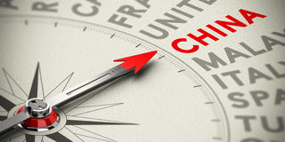 Fokus auf China - Konzept Stockfoto