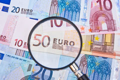 Fokus auf dem Euro. Stockfotos