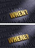 Fokus auf dem Fragen wo und wann Lizenzfreies Stockbild