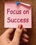 Fokus auf den Erfolgs-Anmerkungs-Shows, die Ziele erzielen Lizenzfreie Stockbilder