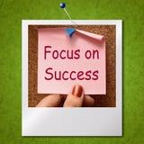 Fokus auf den Erfolgs-Foto-Shows, die Ziele erzielen Lizenzfreie Stockfotografie