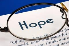 Fokus auf der Wort Hoffnung Lizenzfreie Stockfotografie