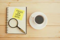 Fokus auf Ihrem Zielzitat lizenzfreie stockfotografie