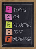 Fokus auf Kosten überall verringern Stockfotos
