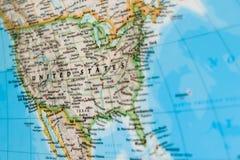 Fokus auf Vereinigten Staaten auf der Weltkarte Lizenzfreies Stockbild