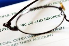 Fokus auf Wert und Service lizenzfreies stockbild