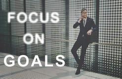 Fokus auf Ziel-Text-Grafik-Konzept stockfotografie