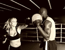 Fokus-Handschuh-Training Stockbild
