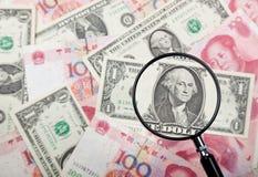Fokus på USA-valuta Arkivfoto
