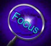 Fokus-Vergrößerungsglas zeigt Aufmerksamkeit der linearen Wiedergabe und fokussierte Stockfotografie