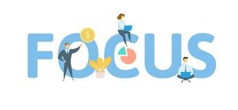 FOKUS-Wort-Konzeptfahne Konzept mit Leuten, Buchstaben und Ikonen Flache Vektorillustration Lokalisiert auf Weiß lizenzfreie abbildung
