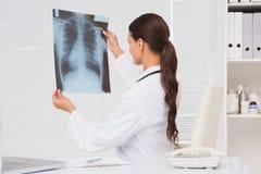 Fokusdoktor som analyserar röntgenstråleresultat Royaltyfri Foto