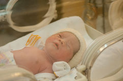 Fokusen på den nyfödda flickan/behandla som ett barn i kuvös Fotografering för Bildbyråer