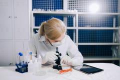 Fokuserad kvinnlig vetenskapsstudent som ser i ett mikroskop i en labo royaltyfria bilder