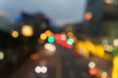 Fokuserad/suddig bild för De av ljus Suddighet lampor Ljus bokeh Arkivfoton
