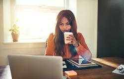 Fokuserad ung kvinnlig entreprenör som dricker kaffe, medan arbeta royaltyfria foton