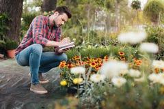 Fokuserade trädgårdsmästaredanandeanmärkningar i anteckningsbok, medan kontrollera växter i trädgård Arkivfoton