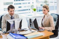 Fokuserat affärsfolk som använder datoren Arkivfoto