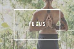 Fokuskoncentraten bestämmer begrepp för brännpunktmål Arkivbild