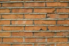 Fokussierte Beschaffenheit der orange festen Backsteinmauer stockfotografie