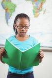 Fokussiertes Schülerlesebuch in einem Klassenzimmer Stockbild