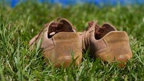 Folâtre des chaussures de gymnase sur une herbe verte Photos stock