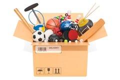 Folâtre l'équipement de jeu à l'intérieur de la boîte en carton, concept de la livraison 3d illustration stock