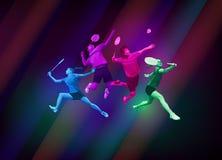 Folâtre l'affiche avec des joueurs de badminton Images libres de droits