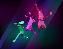 Folâtre l'affiche avec des joueurs de badminton Images stock