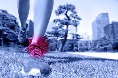 Folâtre la blessure - pieds de coureur avec douleur de cheville images libres de droits