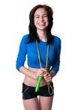 Folâtre la fille avec la corde à sauter image libre de droits