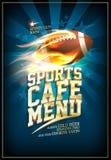 Folâtre le design de carte de menu de café avec la boule de rugby en cuir classique Photo libre de droits