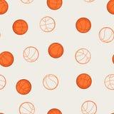 Folâtre le modèle sans couture avec des icônes de basket-ball dedans Photo libre de droits