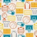 Folâtre le modèle sans couture avec des icônes de basket-ball dedans Image libre de droits