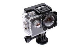Folâtre une caméra d'action dans le bâtiment protecteur d'humidité sur un fond blanc image libre de droits