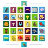 Folâtrez, industriellement, la médecine et toute autre icône de Web dans le style plat , histoire, écologie, nature, icônes dans  illustration stock