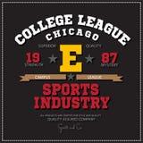 Folâtrez l'emblème sportif de logo de Chicago de ligue d'université de champions Les graphiques de vecteur et le T-shirt de typog illustration stock