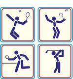 Folâtrez le golf, tennis de badminton, icône de ping-pong Photographie stock libre de droits
