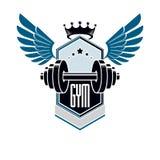 Folâtrez le logo pour le gymnase d'haltérophilie et le centre de fitness, style de vintage illustration de vecteur
