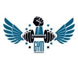Folâtrez le logo pour le gymnase d'haltérophilie et le centre de fitness, style de vintage illustration libre de droits