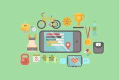 Folâtrez le vecteur plat de logiciel mobile sain de l'exercice APP Image libre de droits
