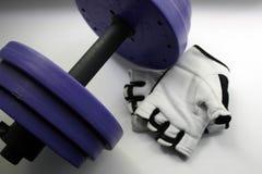 Fol?tre des accessoires Haltères, gants, sur un fond blanc Vue sup?rieure avec l'espace de copie Forme physique, sport et mode de photos stock