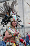 Folclore azteca en el cuadrado de Zocalo, Ciudad de México Fotos de archivo libres de regalías
