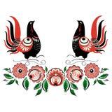 Folclore Gorodets 2 del pájaro del vector Fotografía de archivo libre de regalías
