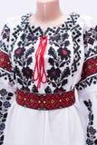 Folclore nacional femenino de la camisa de vestir, un traje popular Ucrania, aislada en fondo del blanco gris Imagen de archivo