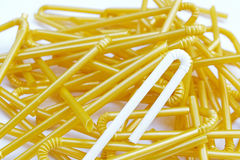 Fold-able joint of white milk plastic straw (Selective focus) wi Stock Images