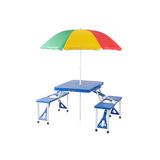 Fold able and portable picnic table with sunshade Royalty Free Stock Photos